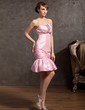 Kılıf Askısız Diz Hizası Taffeta Mezunlar Gecesi Elbisesi Ile Büzgü Boncuklama (022014881)