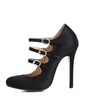 Silk Like Satin Stiletto Heel Pumps Closed Toe With Buckle shoes (085022625)