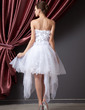 A-Line/Princess Sweetheart Asymmetrical Organza Prom Dress With Flower(s) (018014224)