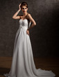 A-Line/Princess Sweetheart Court Train Chiffon Satin Wedding Dress With Ruffle Beading Feather (002012908)