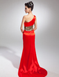 Trumpet/Mermaid One-Shoulder Sweep Train Charmeuse Evening Dress (017015048)