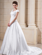Ball-Gown Sweetheart Chapel Train Satin Wedding Dress With Embroidered Beading (002001624)