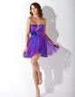 Yüksek Bel Kalp Kesimli Kısa/Mini Tulle Mezunlar Gecesi Elbisesi Ile Büzgü Boncuklama Çiçek(ler) (022009670)