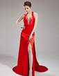 Sheath/Column V-neck Watteau Train Charmeuse Evening Dress With Ruffle Beading Split Front (017004347)