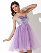 Empire Sweetheart Short/Mini Tulle Sequined Homecoming Dress With Beading (022008132)