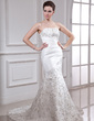 Trumpet/Mermaid Strapless Court Train Satin Organza Wedding Dress With Embroidered Beading Sequins (002000338)