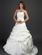 Ball-Gown Strapless Court Train Satin Wedding Dress With Ruffle (002011687)