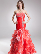 Trumpet/Mermaid Sweetheart Asymmetrical Organza Prom Dress With Beading Split Front Cascading Ruffles (018016881)