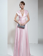 A-Line/Princess V-neck Floor-Length Charmeuse Mother of the Bride Dress With Ruffle (008006190)