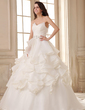 Ball-Gown Sweetheart Court Train Satin Organza Wedding Dress With Ruffle Beading Cascading Ruffles (002026593)
