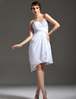 Sheath/Column Sweetheart Asymmetrical Chiffon Cocktail Dress With Ruffle Beading (016021186)