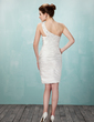 Sheath/Column One-Shoulder Knee-Length Charmeuse Cocktail Dress With Ruffle Beading (016008294)