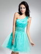 A-Line/Princess One-Shoulder Short/Mini Organza Cocktail Dress With Ruffle Beading (016014918)