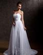 A-linjeformat Hjärtformad Court släp Taft Tyll Bröllopsklänning med Rufsar Pärlbrodering Applikationer Spetsar Paljetter (002004967)
