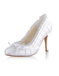 Women's Silk Like Satin Cone Heel Closed Toe Pumps With Bowknot Stitching Lace (047026735)