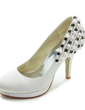 Women's Satin Cone Heel Closed Toe Platform Pumps With Beading Imitation Pearl (047017785)
