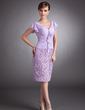 Sheath/Column V-neck Knee-Length Chiffon Lace Mother of the Bride Dress With Cascading Ruffles (008006380)