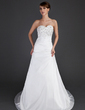 A-Line/Princess Sweetheart Court Train Taffeta Wedding Dress With Ruffle Beading Appliques Lace (002000482)