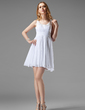 A-Line/Princess Scoop Neck Short/Mini Chiffon Homecoming Dress With Ruffle Beading Sequins (022004452)