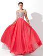 A-Line/Princess Sweetheart Floor-Length Tulle Prom Dress With Beading (018004812)