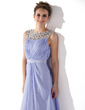 A-Line/Princess Scoop Neck Ankle-Length Chiffon Prom Dress With Ruffle Beading (018021121)