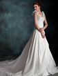 A-Line/Princess Sweetheart Chapel Train Taffeta Wedding Dress With Ruffle Flower(s) (002011590)