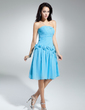 A-Line/Princess One-Shoulder Knee-Length Chiffon Homecoming Dress With Ruffle Beading Flower(s) (022014961)