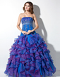 Ball-Gown Strapless Floor-Length Organza Quinceanera Dress With Beading Appliques Lace Sequins Cascading Ruffles (021004703)