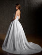 Ball-Gown Sweetheart Chapel Train Satin Wedding Dress With Ruffle Beading Bow(s) (002004538)