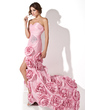 Trumpet/Mermaid Sweetheart Sweep Train Taffeta Prom Dress With Ruffle Beading Flower(s) Split Front (018024293)