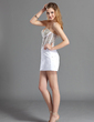 Sheath/Column Sweetheart Short/Mini Charmeuse Cocktail Dress With Beading Sequins (016019146)