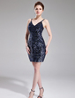 Sheath/Column V-neck Short/Mini Sequined Cocktail Dress (016008228)
