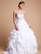 Ball-Gown Strapless Floor-Length Taffeta Tulle Wedding Dress With Embroidered Ruffle Beading Sequins (002012718)