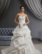 A-Line/Princess Sweetheart Chapel Train Taffeta Wedding Dress With Ruffle Lace Beading Flower(s) (002022653)