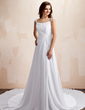 A-Line/Princess Sweetheart Chapel Train Chiffon Wedding Dress With Ruffle Beading (002012002)