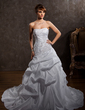 A-Line/Princess Strapless Cathedral Train Taffeta Wedding Dress With Ruffle Lace Beading (002012789)