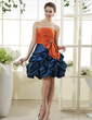 A-Line/Princess Strapless Short/Mini Taffeta Homecoming Dress With Ruffle Beading Bow(s) (022015438)