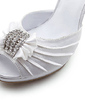 Women's Satin Stiletto Heel Peep Toe Sandals With Bowknot Buckle Rhinestone (047008151)