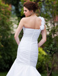 Trumpet/Mermaid One-Shoulder Chapel Train Taffeta Wedding Dress With Ruffle Flower(s) (002000586)