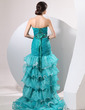 Trumpet/Mermaid Sweetheart Asymmetrical Organza Prom Dress With Ruffle Beading Cascading Ruffles (018014058)