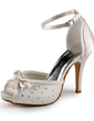 Women's Satin Cone Heel Peep Toe Platform Sandals With Bowknot Buckle Crystal (047005364)
