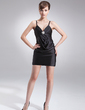 Sheath/Column V-neck Short/Mini Charmeuse Cocktail Dress With Ruffle Crystal Brooch (016008464)