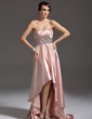 A-Line/Princess Sweetheart Asymmetrical Charmeuse Prom Dress With Ruffle Beading (018021105)