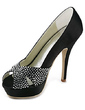 Women's Satin Stiletto Heel Peep Toe Platform Sandals With Rhinestone (047020124)