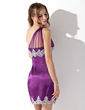 Sheath/Column One-Shoulder Short/Mini Charmeuse Homecoming Dress With Ruffle Beading Appliques Lace Sequins (022009431)