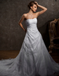 A-Line/Princess Sweetheart Chapel Train Satin Organza Wedding Dress With Beading Appliques Lace (002004509)