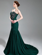 Trumpet/Mermaid Sweetheart Court Train Chiffon Evening Dress With Ruffle Beading Appliques Lace Sequins Split Front (017019743)