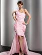 Sheath/Column One-Shoulder Asymmetrical Chiffon Prom Dress With Ruffle Flower(s) (018014516)
