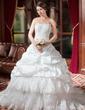 Forme Marquise Bustier en coeur Traîne mi-longue Taffeta Robe de mariée avec Plissé Dentelle Emperler (002000268)