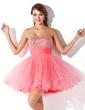 Çan/Prenses Kalp Kesimli Kısa/Mini Tulle Mezunlar Gecesi Elbisesi Ile Büzgü Boncuklama (022009105)